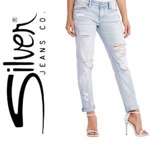 Silver Boyfriend Ankle Jeans